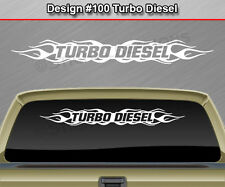 #100 TURBO DIESEL Windshield Decal Window Sticker Vinyl Graphic Flame Flaming