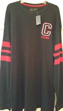 Mens T-shirt Black Thermal Coogi Red Stripes on Sleeves Embroidery NWT XL 2XL