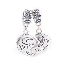 NEW Sterling Silver Husband love wife Heart Pendant Charm Valentine's day best