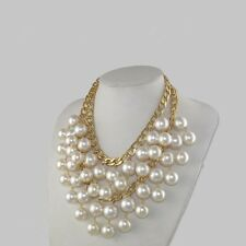 2 Broke Girls Caroline Inspired Cream Pearl Beads Golden Chain Necklace Pendant