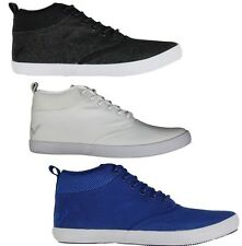 MENS TRAINERS VOI FIERY MIRACLE HI TOP LACE UP STYLE IN BLACK & BLUE COLOURS