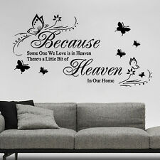 ♥ Because someone we love is in heaven ♥ wall sticker quote art