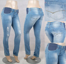 Maternity skinny jeans, elastic waist ,  fully washed & distressed effect.