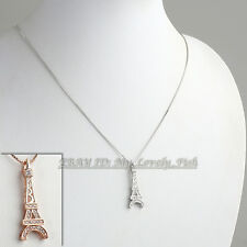 Fashion Eiffel Tower Necklace & Pendant 18KGP Rhinestone CZ