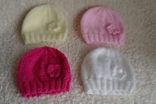 Hand knitted premature and newborn baby beanie hats with flower detail
