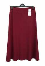 M&S New Claret Red Skirt A Line Bias Cut Fully Lined with Elasticated Waist