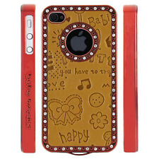 Gem Crystal Rhinestone Orange Cute Leather Case For Apple iPhone 4 4S 4G