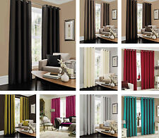 """Faux Silk Fully Lined Eyelet Curtains 66"""" x 54"""" 66"""" x 72"""" 66"""" x 90"""" 90"""" x 90"""""""