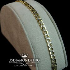 UNISEX 10K MARKED SOLID YELLOW GOLD 2 TONE CUBAN PAVE 7~9 INCH BRACELET 3.6-5mm