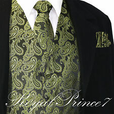 Olive Green Paisley Tuxedo Suit Dress Vest Waistcoat & Neck tie & And Hankie Set