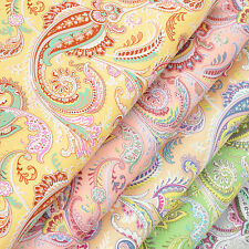 VINTAGE PAISLEY & FLOWER Retro Cotton Fabric Dress Quilting Crafts #VK58 per FQ