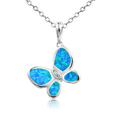 Dormith 925 silver charm blue fire opal flying butterfly pendant necklace 18in