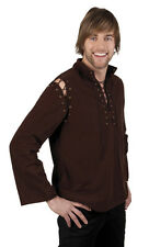 MENS LONG SLEEVED MEDIEVAL BROWN SHIRT FANCY DRESS COSTUME OUTFIT NEW