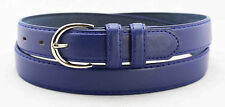 "5549- 1.25"" WIDE BLUE LEATHER DRESS BELT FOR LADIES & FREE US SHIPPING"