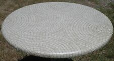 Mosaic Tan Round Vinyl Fitted Dining Tablecloth Patio Picnic Cover Made in USA