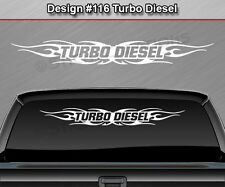 #116 TURBO DIESEL Windshield Decal Window Sticker Graphic Tribal Flame Banner