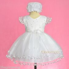 Embroidery Scallop Hemline Party Occasion Holiday Dress w/ Bonnet Size 9-24m 324