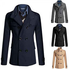 cheap price Men Slim Fit Long Winter Warm Double Breasted Peacoat Coat Jacket