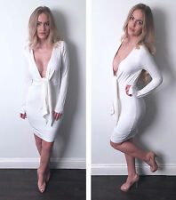 ♥Pamela♥Cream/White Deep Plunge Knot Long Sleeved Midi Bodycon Dress 6-12