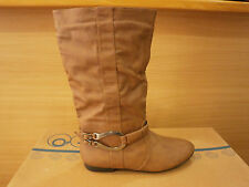 Womens Mid Calf Knee Low Heel Ankle Buckle Strap Casual Slouch Cowboy Boots Size