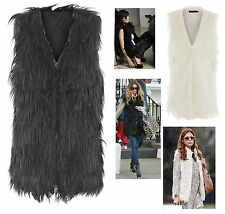 Women Ladies Sleeveless Fox Fur Vest Waistcoat Gilet Jacket Coat Outerwear Top