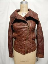 Guess Asymetrical Zip Quilted Faux Leather Biker Jacket XS Cognac  NWT