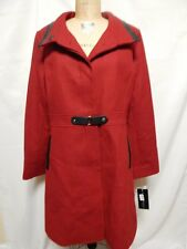 Via Spiga Stand Collar Wool Coat 16 Red New with Tags