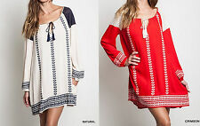 Eliza Bella for Umgee Natural Boho, Gypsy, Embroidered Dress / Blouse S, M, L
