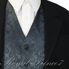 Charcoal XS to 6XL Paisley Tuxedo Suit Dress Vest Waistcoat Wedding Party Prom