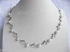 "17"" 45cm Real 8mm White Freshwater Pearl Hearts Linked Necklace Present Bride"