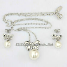 B1-S3062 Fashion Bowknot Pearl 18KGP Earrings&Necklace Set