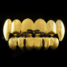 14k Gold Vampire Fang Teeth Top Bottom GRILLZ Set Mouth Teeth Caps Grills NEW