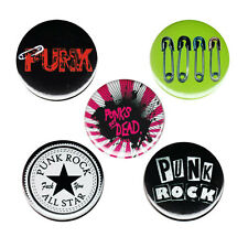 Punk Emo Pinback Button Badge Pin Set Or Choose 44mm 1.75 Inch Rock Saftey Pins
