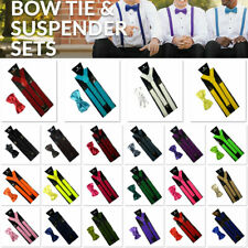 Mens Women Adjustable Elastic Suspenders Clip On Unisex Braces Solid Colour