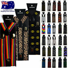 Fashion Print Pattern Suspenders Clip On Mens Women Unisex Adjustable Braces