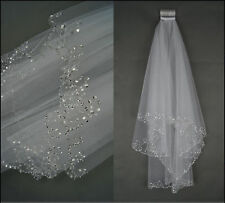 2017 New 2 Layers Beaded Edge Pearl Sequins Bridal Wedding Veil With Comb
