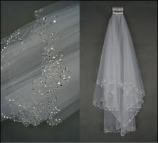 2016 New 2 Layers Beaded Edge Pearl Sequins Bridal Wedding Veil With Comb