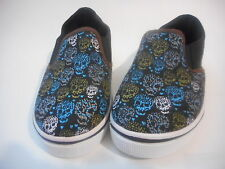 Boys Casual Canvas Boat Shoes Simon Chang Black Skulls various sizes NEW