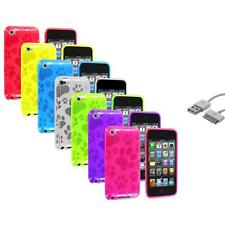 TPU Dog Paw Color Skin Cover Case+Sync Cable for Apple iPod Touch 4th Gen 4G 4