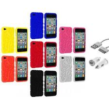 Totem Tribal Color Silicone Rubber Case Cover+USB+Car Charger for iPhone 4 4S 4G