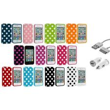 For iPhone 4 4S 4G Polka Dot TPU Color Rubber Case Cover+USB+Car Charger