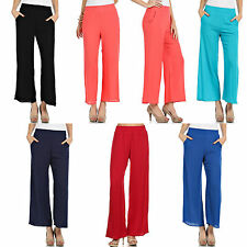 Rayon Elastic Shirred High Waist Gauze Solid Pleated Wide Leg Palazzo Woven Pant