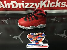 Nike Air Jordan 10 X Bulls over Broadway TD toddler Ps Preschool Red black kids