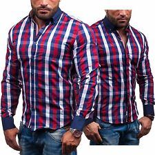 BOLF 4757 Mens Check Long-sleeved Slim Fit Polo Recreational shirts 2B2 Party
