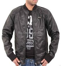 Ecko Mens Boys College Varsity Bomber Bikers Black Quilted Faux Leather Jacket B