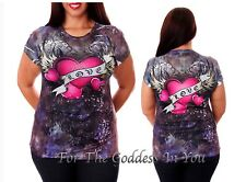 T150 RHINESTONE LOVE HEART WINGS SUBLIMATION T- SHIRT WOMENS SIZE S M L
