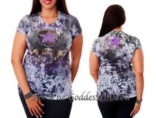 T156 PURPLE RHINESTONE STAR & WING SUBLIMATION T- SHIRT WOMENS SIZE S M L