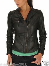 New Women's Leather Motorcycle Biker Jacket 100% Genuine Soft Lambskin #B148