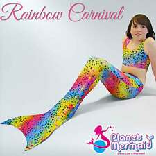 UK Swimmable Mermaid Tail Costume in Rainbow Carnival. Great Birthday Gift
