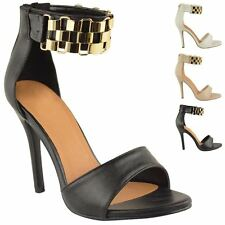 Womens Strappy High Heel Ankle Chain Cuff Ladies Sandals Shoes Size